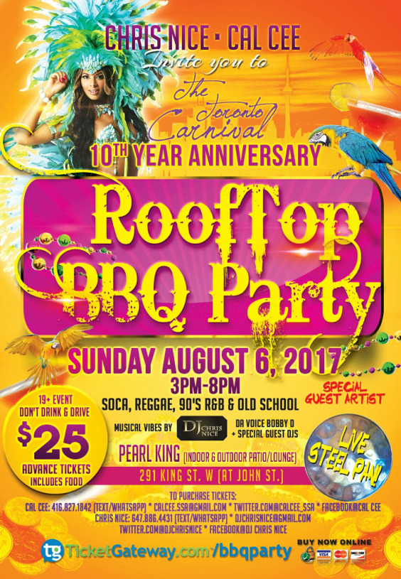 THE TORONTO CARNIVAL ROOFTOP BBQ PARTY